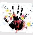 hand print on ink splatter background vector image vector image