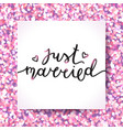 just married lettering vector image