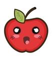 kawaii cartoon apple vector image vector image
