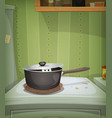 kitchen scene mouse inside stove vector image vector image