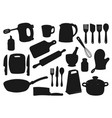 kitchen utensil appliance isolated silhouettes vector image