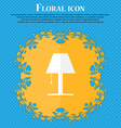Lamp icon sign Floral flat design on a blue vector image