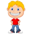 Little boy cartoon with brackets vector image vector image