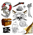 marine theme icons set vector image vector image