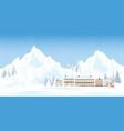 Mountains ski resort with house and pine in the
