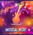 neon live music night concert or acoustic disco vector image
