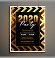 new year 2020 golden and black flyer template vector image vector image