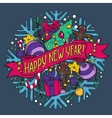 New Year greeting card with holiday stuff vector image vector image