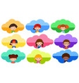 nine sticker template with happy children on vector image vector image