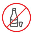 no alcohol line icon prohibited and ban no drink vector image vector image