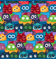 owls hand drawn pattern vector image vector image