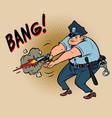 policeman shoots the officer uses a handgun vector image