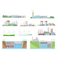 power plant and energy station building icons vector image