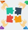 puzzle teamwork business concept four people vector image
