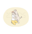 recreation resting play pet embrace love vector image