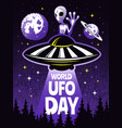 retro poster concept for world day of ufo vector image vector image