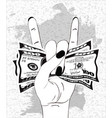 rock-n-roll hand gesture with crumpled one vector image vector image