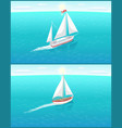 sail boat with white canvas fishery ship sailing vector image vector image