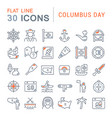 set line icons columbus day vector image