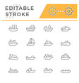 set line icons of water transport vector image vector image
