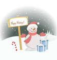 snowman happy holidays vector image vector image