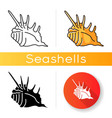 spiked seashell icon vector image vector image