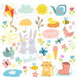 Spring set hand drawn elements flowers birds