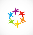 star circular people teamwork logo vector image