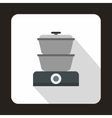 Steam cooker icon flat style vector image vector image