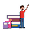 student man hand up with books vector image vector image