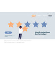 three star rating man giving feedback concept vector image vector image