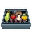 vegetables on bbq pop art vector image vector image
