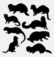 Weasel wild animal silhouette vector image vector image