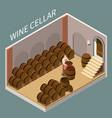 wine cellar isometric vector image vector image