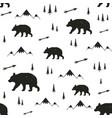with stylish cartoon seamless pattern bear pine vector image