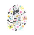 zebra with flowers and butterflies on white vector image