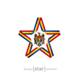 star with Moldova flag colors and symbols design vector image