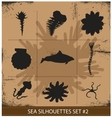 Abstract silhouette sea animals isolated vector image