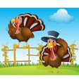 A turkey above the wooden fence and a turkey vector image vector image