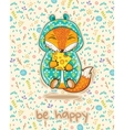 Be happy Cute card with fox and slice of cheese vector image vector image