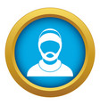 bearded man avatar icon blue isolated vector image vector image