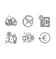 bitcoin income money and sale megaphone icons set vector image vector image