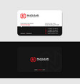 black business card with red letter n and flash vector image vector image