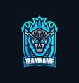 blue fire skull esport gaming mascot logo vector image