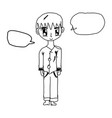 boy with speech bubble sketch vector image