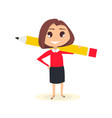 business woman with pencil vector image