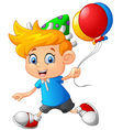 Cartoon little boy holding balloon vector image