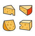 cheese icon set on white background vector image vector image