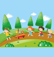 children running in park at daytime vector image vector image