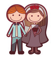 color silhouette shading cartoon couple in wedding vector image vector image